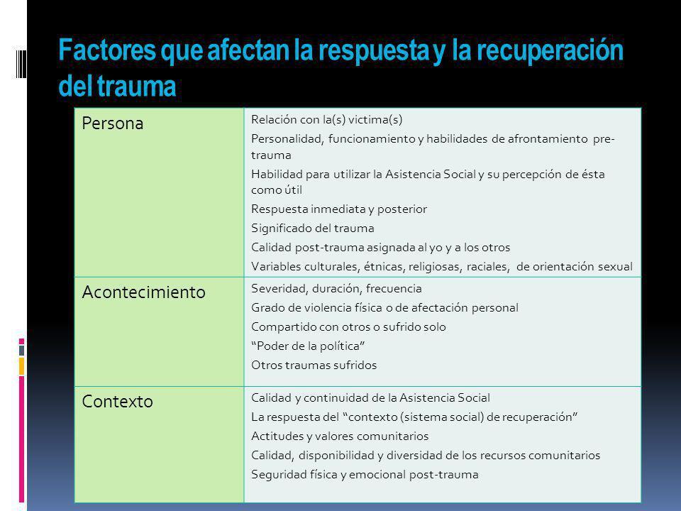 Factores que afectan la respuesta y la recuperación del trauma Persona Relación con la(s) victima(s) Personalidad, funcionamiento y habilidades de afr