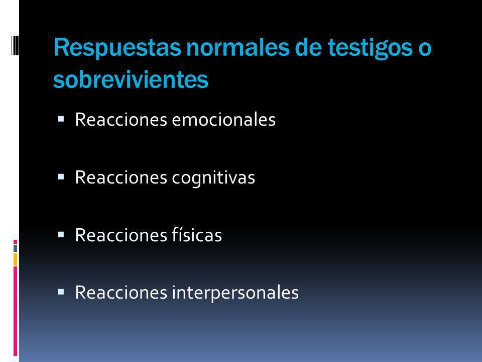 Respuestas normales de testigos o sobrevivientes Reacciones emocionales Reacciones cognitivas Reacciones físicas Reacciones interpersonales