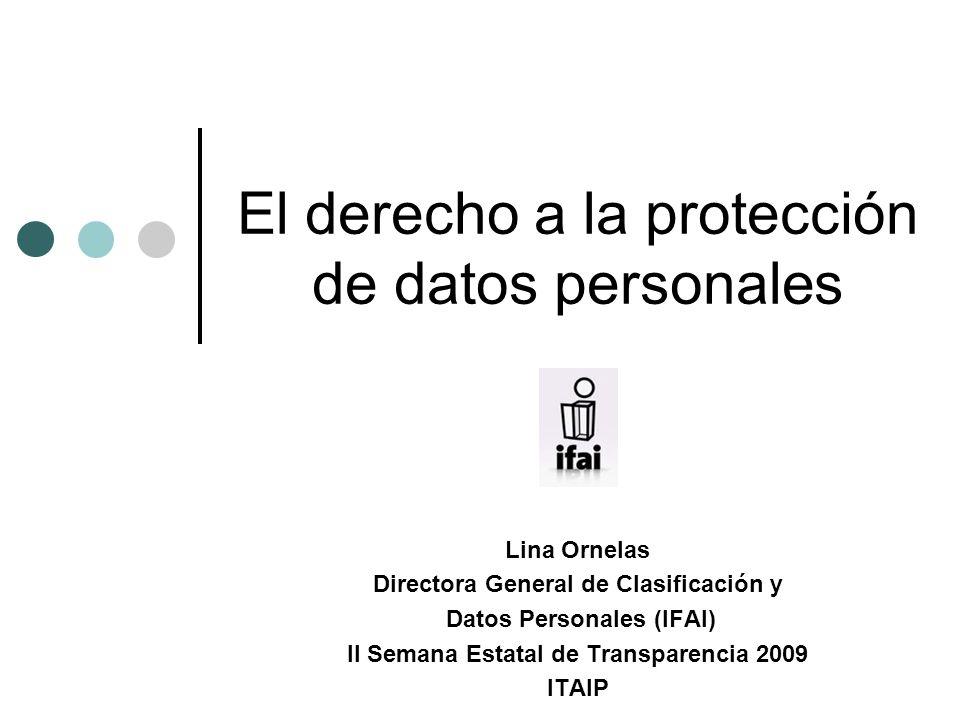 El derecho a la protección de datos personales Lina Ornelas Directora General de Clasificación y Datos Personales (IFAI) II Semana Estatal de Transparencia 2009 ITAIP