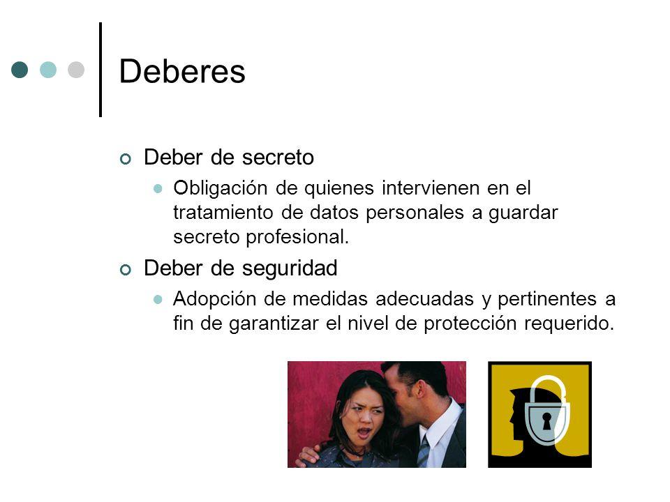 Deberes Deber de secreto Obligación de quienes intervienen en el tratamiento de datos personales a guardar secreto profesional.