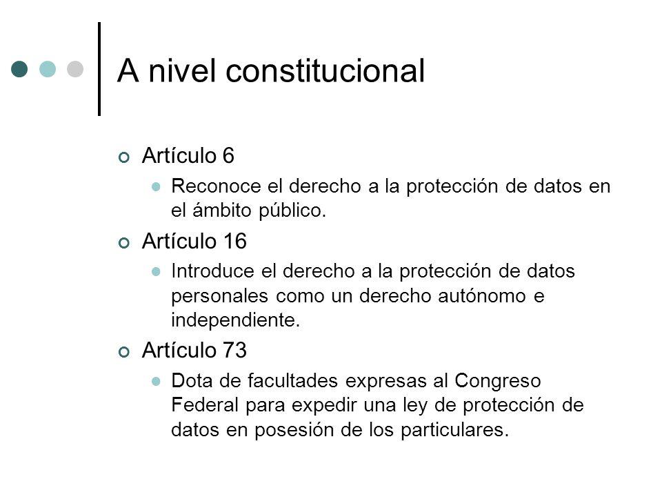 A nivel constitucional Artículo 6 Reconoce el derecho a la protección de datos en el ámbito público.