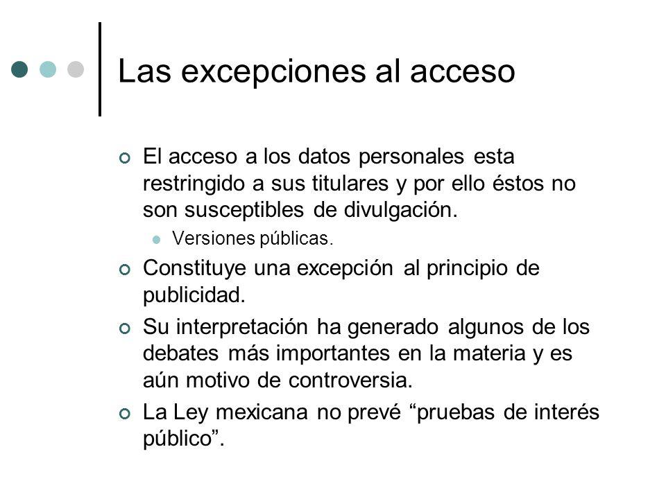 Las excepciones al acceso El acceso a los datos personales esta restringido a sus titulares y por ello éstos no son susceptibles de divulgación.
