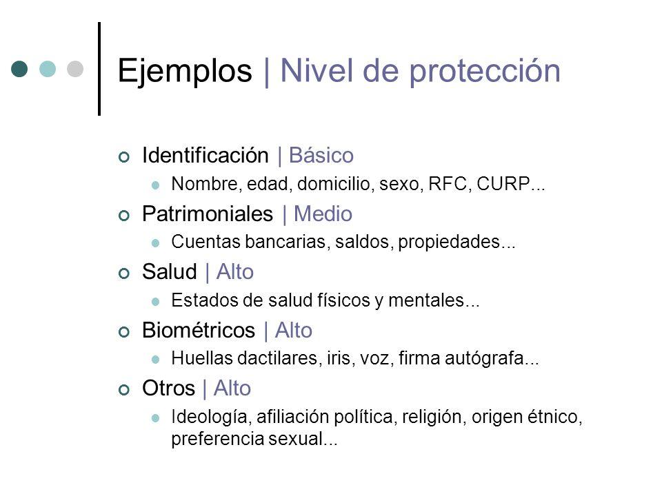 Ejemplos   Nivel de protección Identificación   Básico Nombre, edad, domicilio, sexo, RFC, CURP...