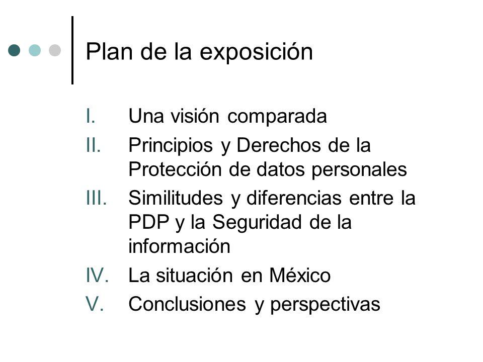 Plan de la exposición I.Una visión comparada II.Principios y Derechos de la Protección de datos personales III.Similitudes y diferencias entre la PDP y la Seguridad de la información IV.La situación en México V.Conclusiones y perspectivas