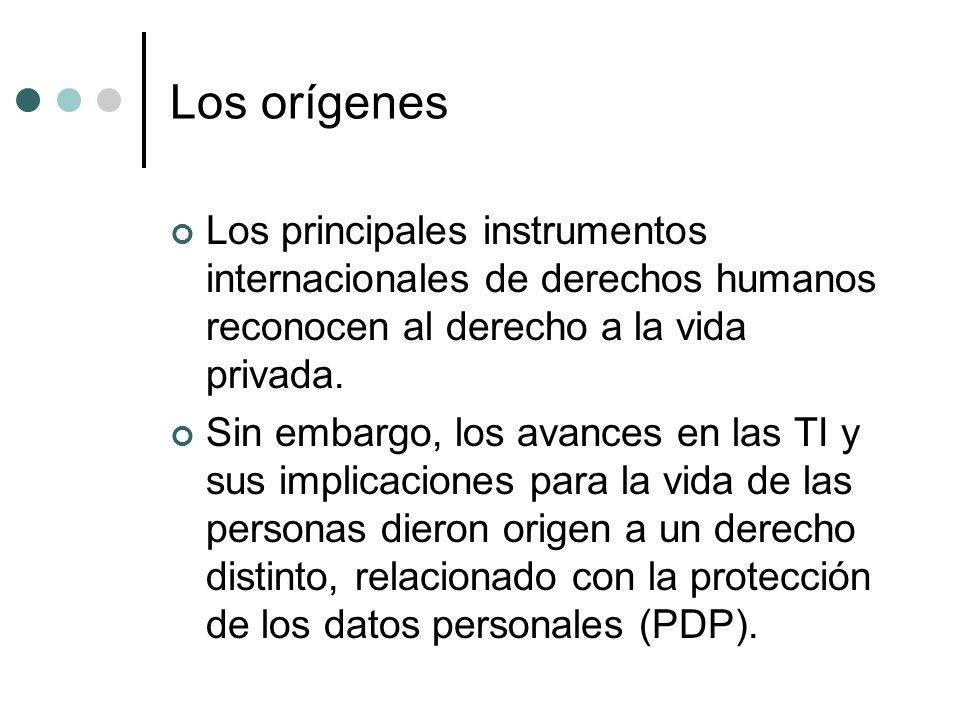 Los orígenes Los principales instrumentos internacionales de derechos humanos reconocen al derecho a la vida privada.
