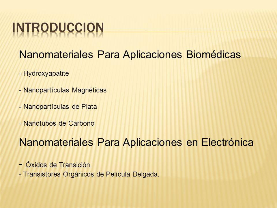 Nanomateriales Para Aplicaciones Biomédicas - Hydroxyapatite - Nanopartículas Magnéticas - Nanopartículas de Plata - Nanotubos de Carbono Nanomateriales Para Aplicaciones en Electrónica - Óxidos de Transición.