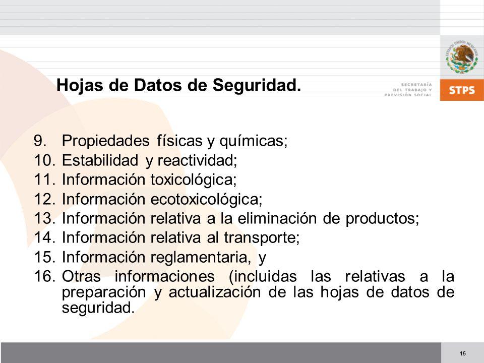 15 9.Propiedades físicas y químicas; 10.Estabilidad y reactividad; 11.Información toxicológica; 12.Información ecotoxicológica; 13.Información relativ