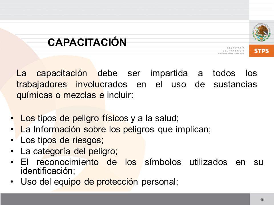 16 CAPACITACIÓN Los tipos de peligro físicos y a la salud; La Información sobre los peligros que implican; Los tipos de riesgos; La categoría del peli