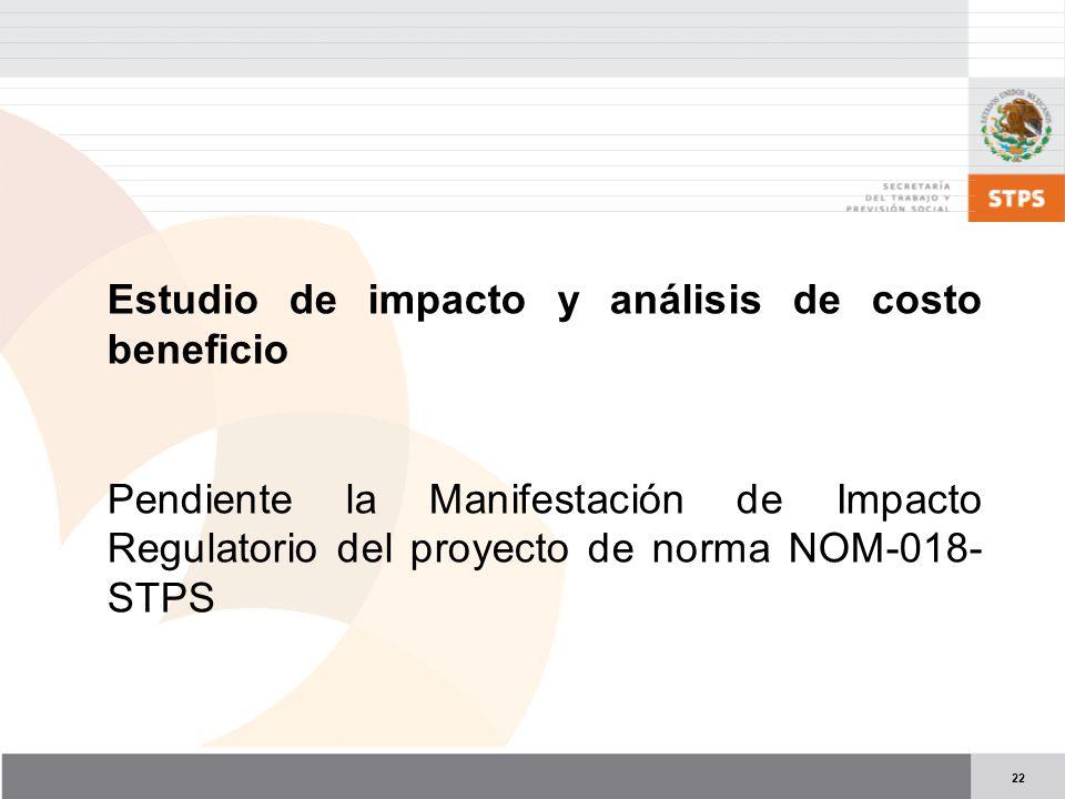 22 Estudio de impacto y análisis de costo beneficio Pendiente la Manifestación de Impacto Regulatorio del proyecto de norma NOM-018- STPS