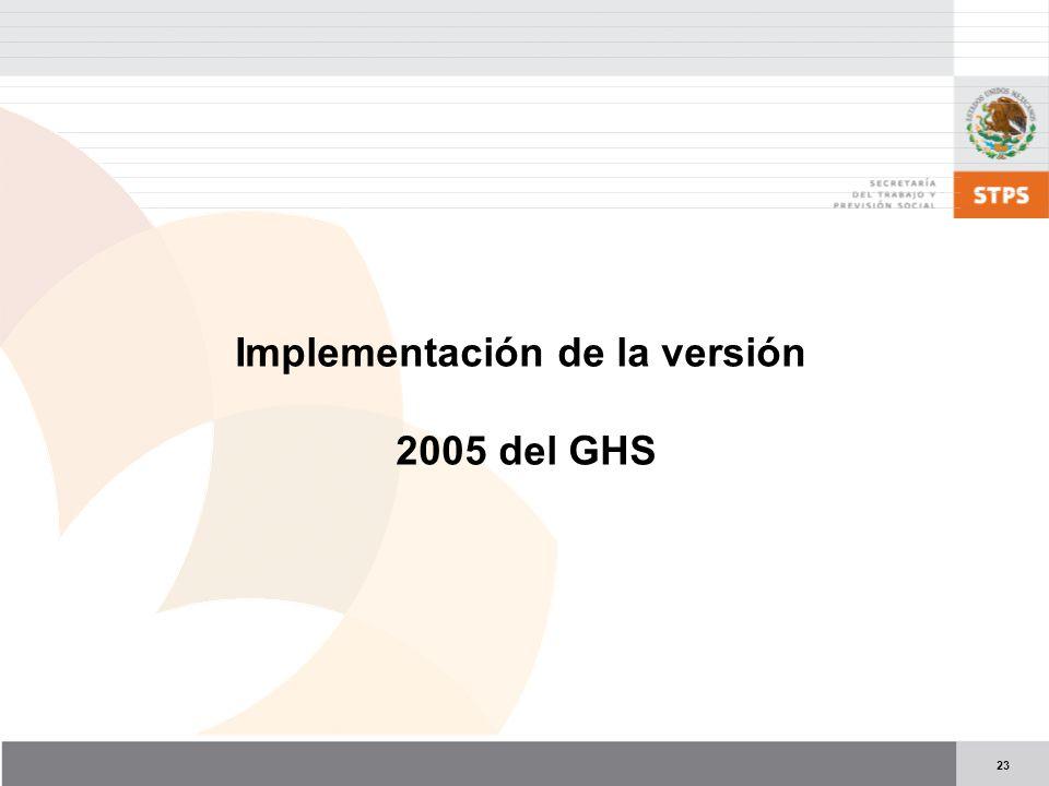 23 Implementación de la versión 2005 del GHS