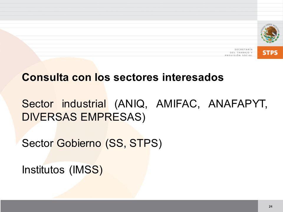 24 Consulta con los sectores interesados Sector industrial (ANIQ, AMIFAC, ANAFAPYT, DIVERSAS EMPRESAS) Sector Gobierno (SS, STPS) Institutos (IMSS)