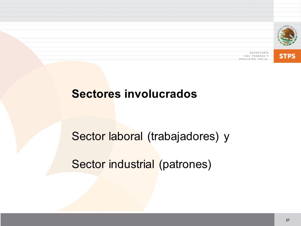 27 Sectores involucrados Sector laboral (trabajadores) y Sector industrial (patrones)