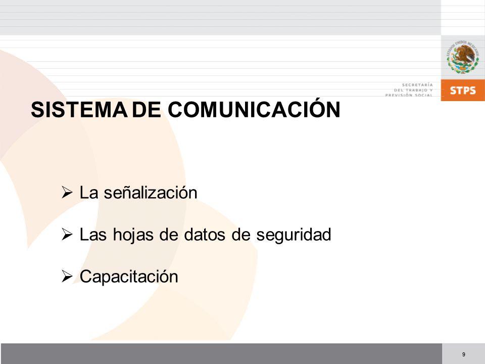 9 SISTEMA DE COMUNICACIÓN La señalización Las hojas de datos de seguridad Capacitación