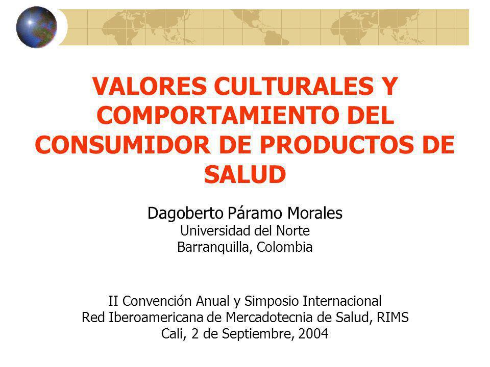VALORES CULTURALES Y COMPORTAMIENTO DEL CONSUMIDOR DE PRODUCTOS DE SALUD Dagoberto Páramo Morales Universidad del Norte Barranquilla, Colombia II Conv