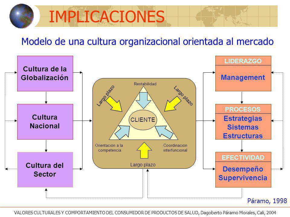 Modelo de una cultura organizacional orientada al mercado Cultura de la Globalización Cultura del Sector Cultura Nacional CLIENTE Orientación a la com