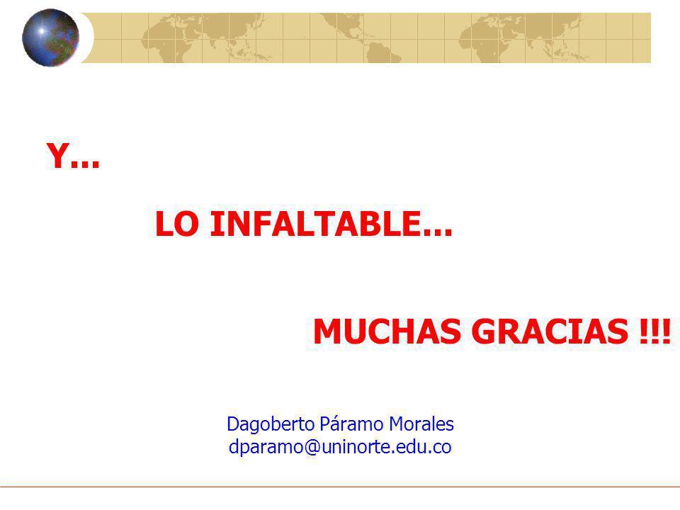 Dagoberto Páramo Morales dparamo@uninorte.edu.co Y... MUCHAS GRACIAS !!! LO INFALTABLE...