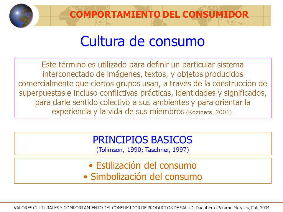 Cultura de consumo COMPORTAMIENTO DEL CONSUMIDOR CARACTERISTICAS (Slater, 1998) Es la misma cultura del consumidor Corresponde a las sociedades de mercado (capitalista) Asimila la libertad con la opción y la vida privada Atiende los deseos y las necesidades del consumidor Es un medio de negociación de la identidad y el status Reconocimiento al papel de la cultura ELEMENTOS PARA CONSTRUCCION (Schouten, McAlexander,1995) Fantasías Contacto visual Olores Formas y ritmos VALORES CULTURALES Y COMPORTAMIENTO DEL CONSUMIDOR DE PRODUCTOS DE SALUD, Dagoberto Páramo Morales, Cali, 2004