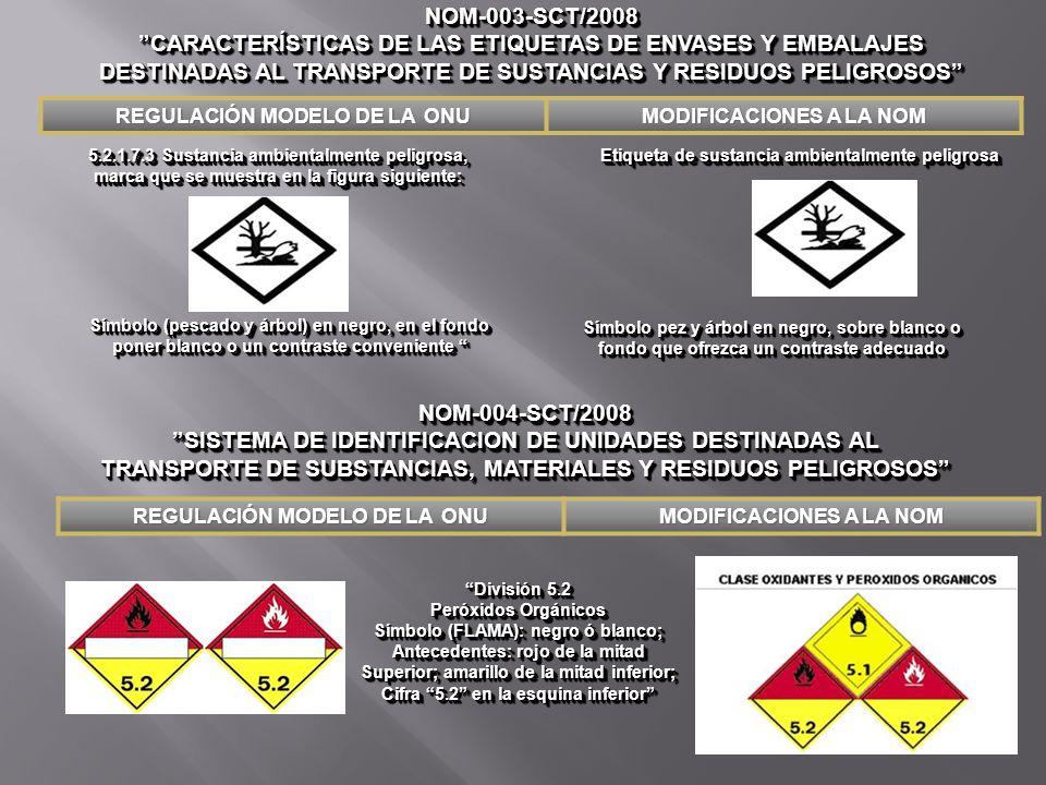 5.2.1.7.3 Sustancia ambientalmente peligrosa, marca que se muestra en la figura siguiente: Etiqueta de sustancia ambientalmente peligrosa NOM-003-SCT/