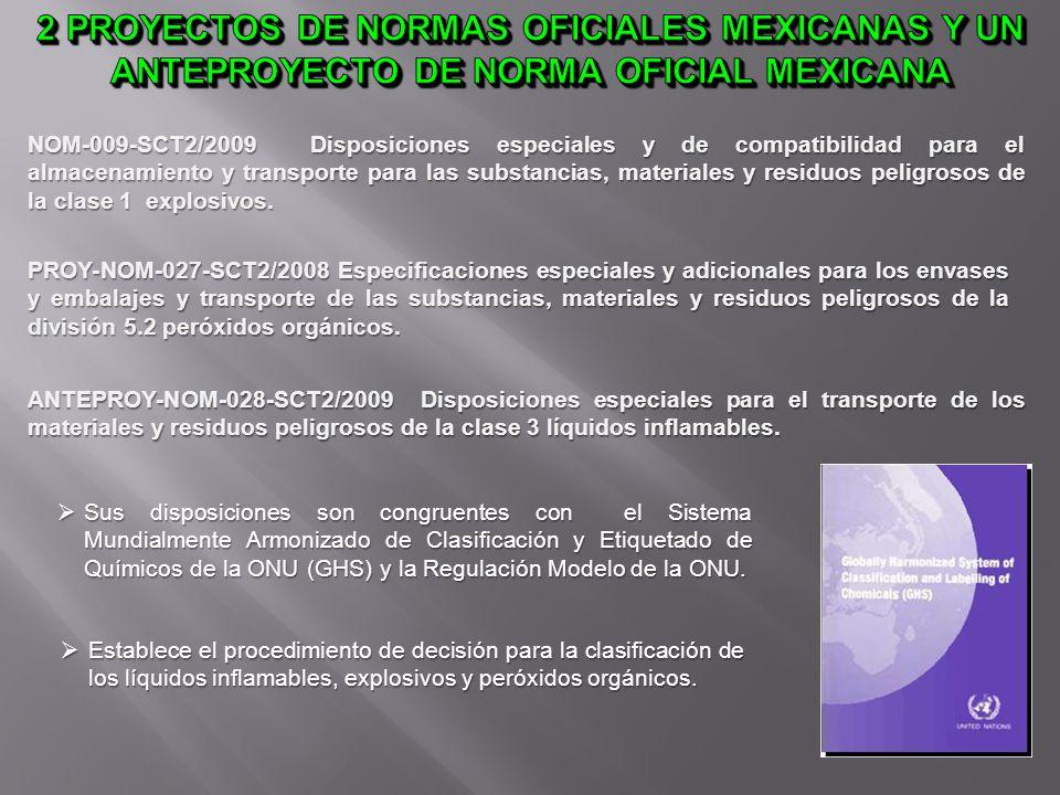 NOM-009-SCT2/2009 Disposiciones especiales y de compatibilidad para el almacenamiento y transporte para las substancias, materiales y residuos peligro
