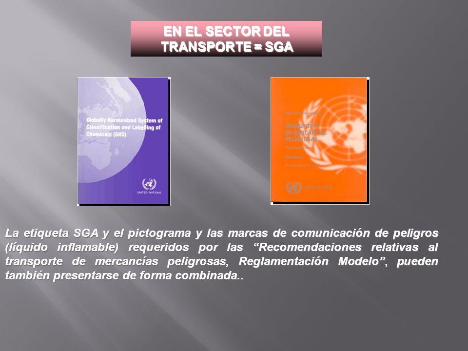 La etiqueta SGA y el pictograma y las marcas de comunicación de peligros (líquido inflamable) requeridos por las Recomendaciones relativas al transpor