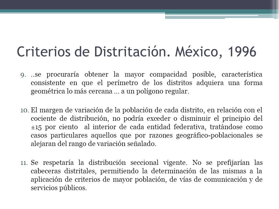 Criterios de Distritación.
