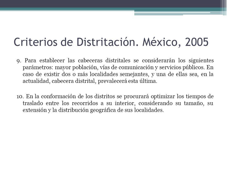 Criterios de Distritación. México, 2005 9. Para establecer las cabeceras distritales se considerarán los siguientes parámetros: mayor población, vías