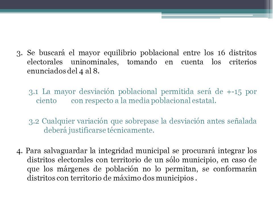 3.Se buscará el mayor equilibrio poblacional entre los 16 distritos electorales uninominales, tomando en cuenta los criterios enunciados del 4 al 8.