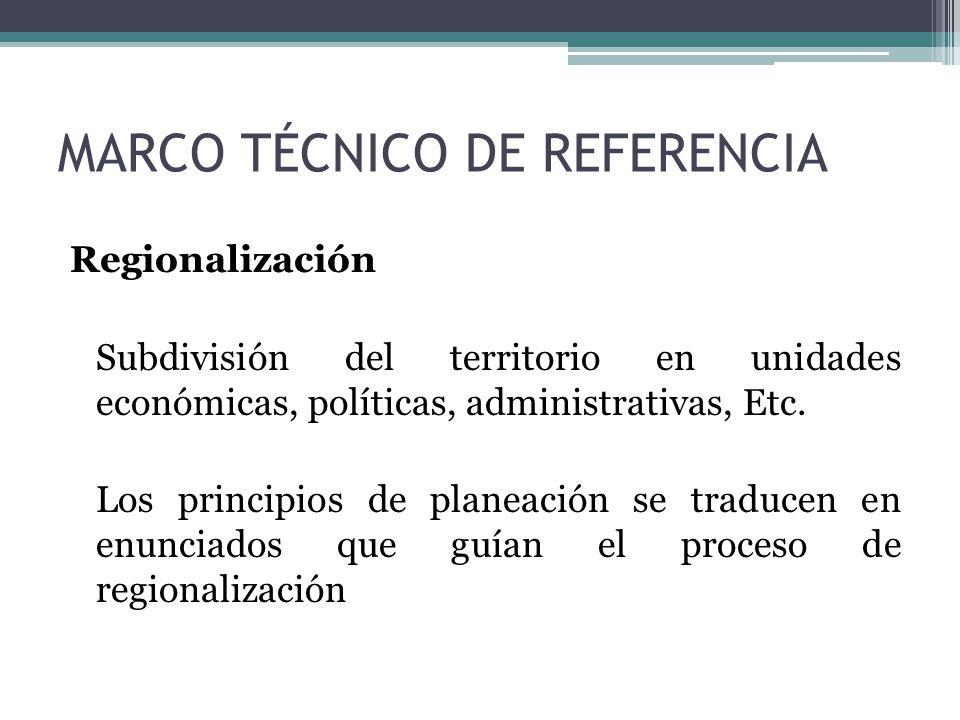 Regionalización Subdivisión del territorio en unidades económicas, políticas, administrativas, Etc. Los principios de planeación se traducen en enunci