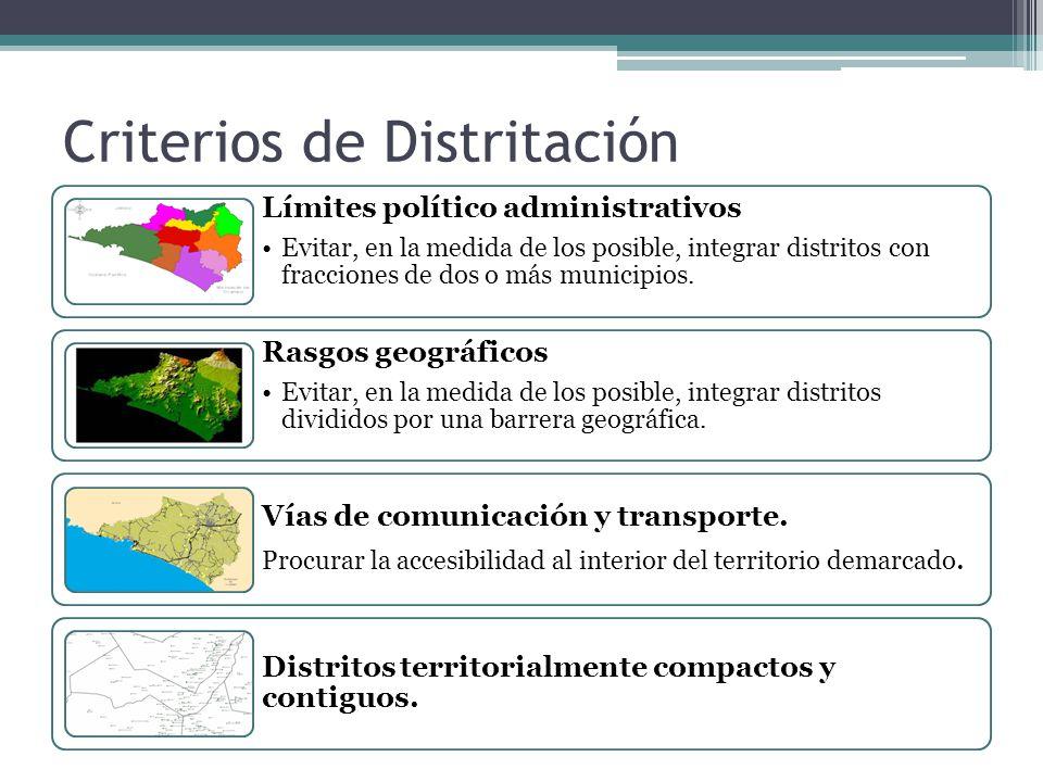 Criterios de Distritación Límites político administrativos Evitar, en la medida de los posible, integrar distritos con fracciones de dos o más municip