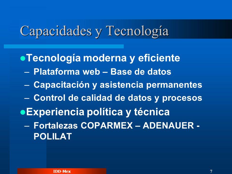 IDD-Mex 7 Capacidades y Tecnología Tecnología moderna y eficiente –Plataforma web – Base de datos –Capacitación y asistencia permanentes –Control de calidad de datos y procesos Experiencia política y técnica –Fortalezas COPARMEX – ADENAUER - POLILAT