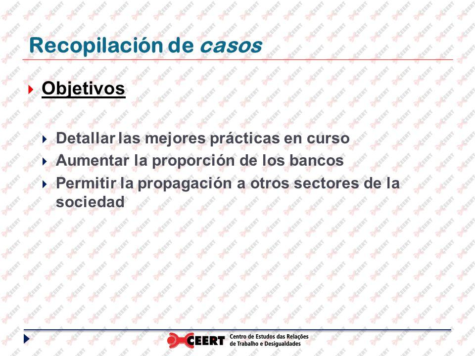 Recopilación de casos Objetivos Detallar las mejores prácticas en curso Aumentar la proporción de los bancos Permitir la propagación a otros sectores de la sociedad
