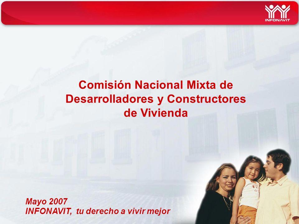 INFONAVIT, tu derecho a vivir mejor Comisión Nacional Mixta de Desarrolladores y Constructores de Vivienda Mayo 2007