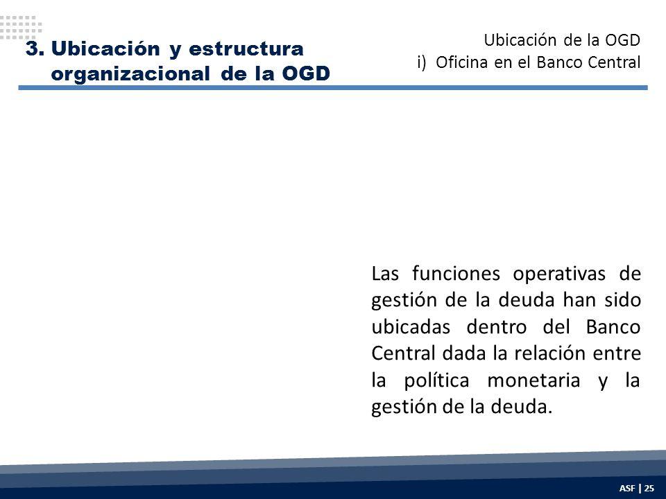 3.Ubicación y estructura organizacional de la OGD Las funciones operativas de gestión de la deuda han sido ubicadas dentro del Banco Central dada la relación entre la política monetaria y la gestión de la deuda.