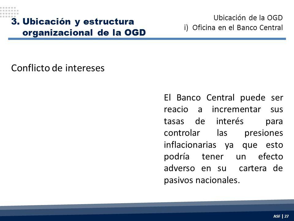 3.Ubicación y estructura organizacional de la OGD El Banco Central puede ser reacio a incrementar sus tasas de interés para controlar las presiones inflacionarias ya que esto podría tener un efecto adverso en su cartera de pasivos nacionales.