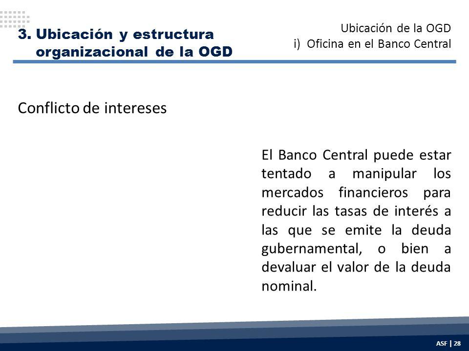 3.Ubicación y estructura organizacional de la OGD El Banco Central puede estar tentado a manipular los mercados financieros para reducir las tasas de interés a las que se emite la deuda gubernamental, o bien a devaluar el valor de la deuda nominal.