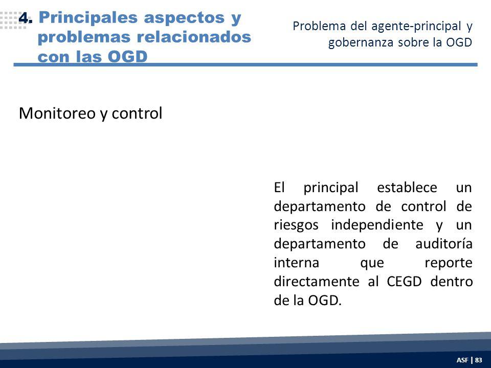 El principal establece un departamento de control de riesgos independiente y un departamento de auditoría interna que reporte directamente al CEGD dentro de la OGD.