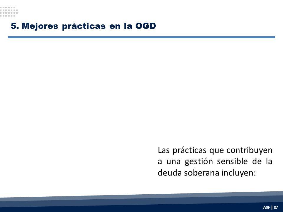 5.Mejores prácticas en la OGD Las prácticas que contribuyen a una gestión sensible de la deuda soberana incluyen: ASF | 87