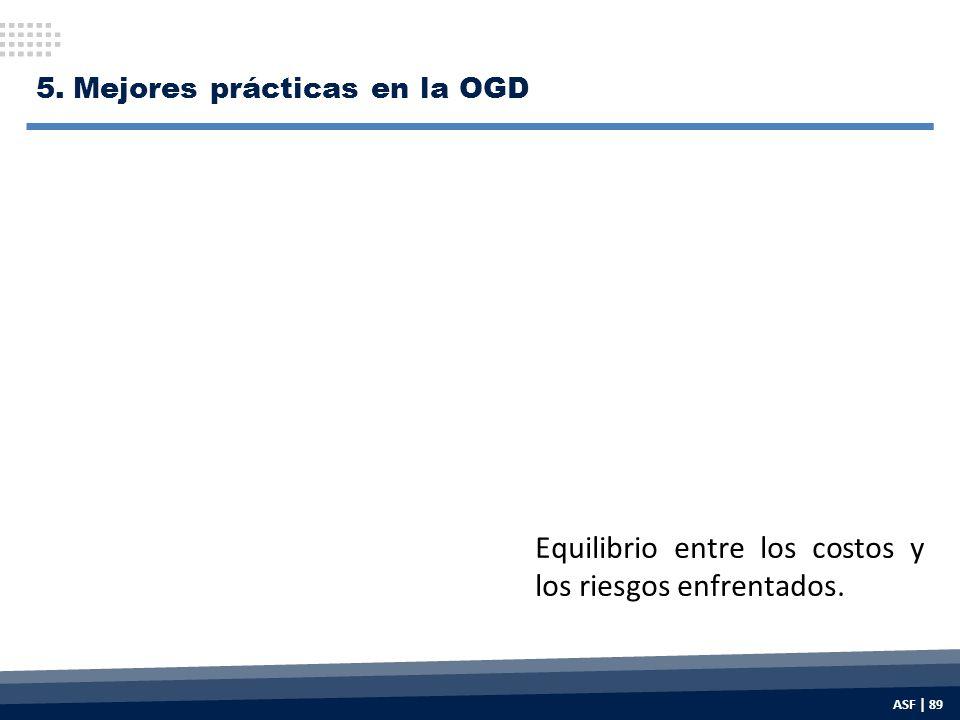Equilibrio entre los costos y los riesgos enfrentados. 5.Mejores prácticas en la OGD ASF | 89