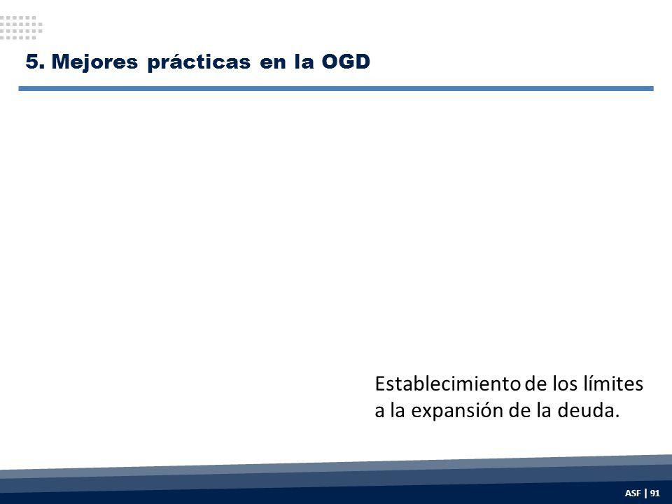 Establecimiento de los límites a la expansión de la deuda. 5.Mejores prácticas en la OGD ASF | 91