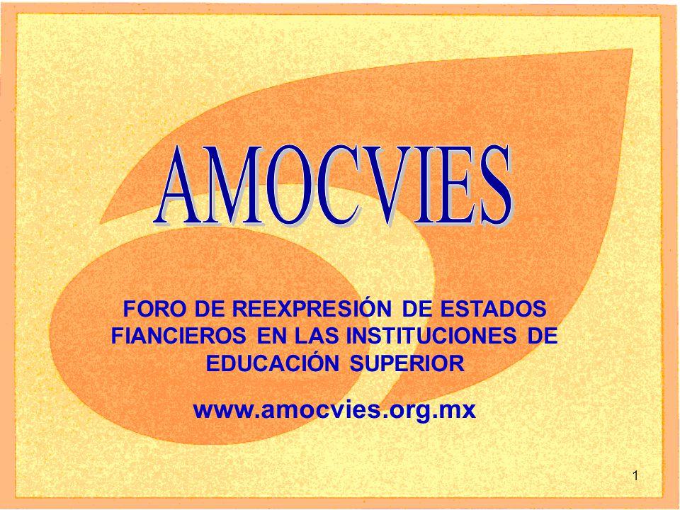 1 FORO DE REEXPRESIÓN DE ESTADOS FIANCIEROS EN LAS INSTITUCIONES DE EDUCACIÓN SUPERIOR www.amocvies.org.mx