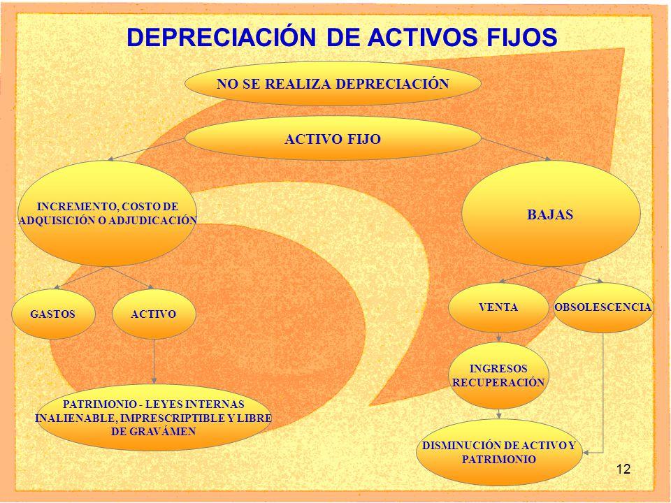 12 DEPRECIACIÓN DE ACTIVOS FIJOS ACTIVO FIJO INCREMENTO, COSTO DE ADQUISICIÓN O ADJUDICACIÓN BAJAS PATRIMONIO - LEYES INTERNAS INALIENABLE, IMPRESCRIPTIBLE Y LIBRE DE GRAVÁMEN GASTOSACTIVO VENTAOBSOLESCENCIA INGRESOS RECUPERACIÓN DISMINUCIÓN DE ACTIVO Y PATRIMONIO NO SE REALIZA DEPRECIACIÓN
