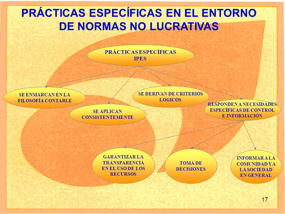 17 PRÁCTICAS ESPECÍFICAS IPES SE ENMARCAN EN LA FILOSOFÍA CONTABLE GARANTIZAR LA TRANSPARENCIA EN EL USO DE LOS RECURSOS TOMA DE DECISIONES INFORMAR A LA COMUNIDAD Y A LA SOCIEDAD EN GENERAL SE DERIVAN DE CRITERIOS LOGICOS SE APLICAN CONSISTENTEMENTE RESPONDEN A NECESIDADES ESPECÍFICAS DE CONTROL E INFORMACIÓN PRÁCTICAS ESPECÍFICAS EN EL ENTORNO DE NORMAS NO LUCRATIVAS