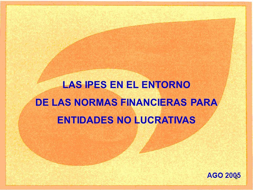 2 LAS IPES EN EL ENTORNO DE LAS NORMAS FINANCIERAS PARA ENTIDADES NO LUCRATIVAS AGO 2005