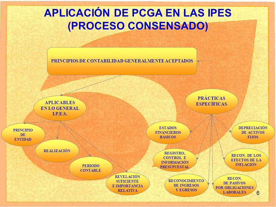 6 APLICACIÓN DE PCGA EN LAS IPES (PROCESO CONSENSADO) PRINCIPIOS DE CONTABILIDAD GENERALMENTE ACEPTADOS APLICABLES EN LO GENERAL I.P.E.S. PRÁCTICAS ES