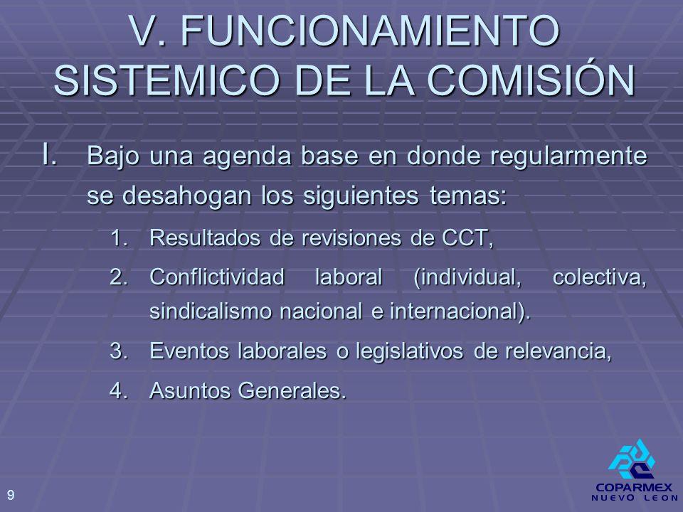 V. FUNCIONAMIENTO SISTEMICO DE LA COMISIÓN I.