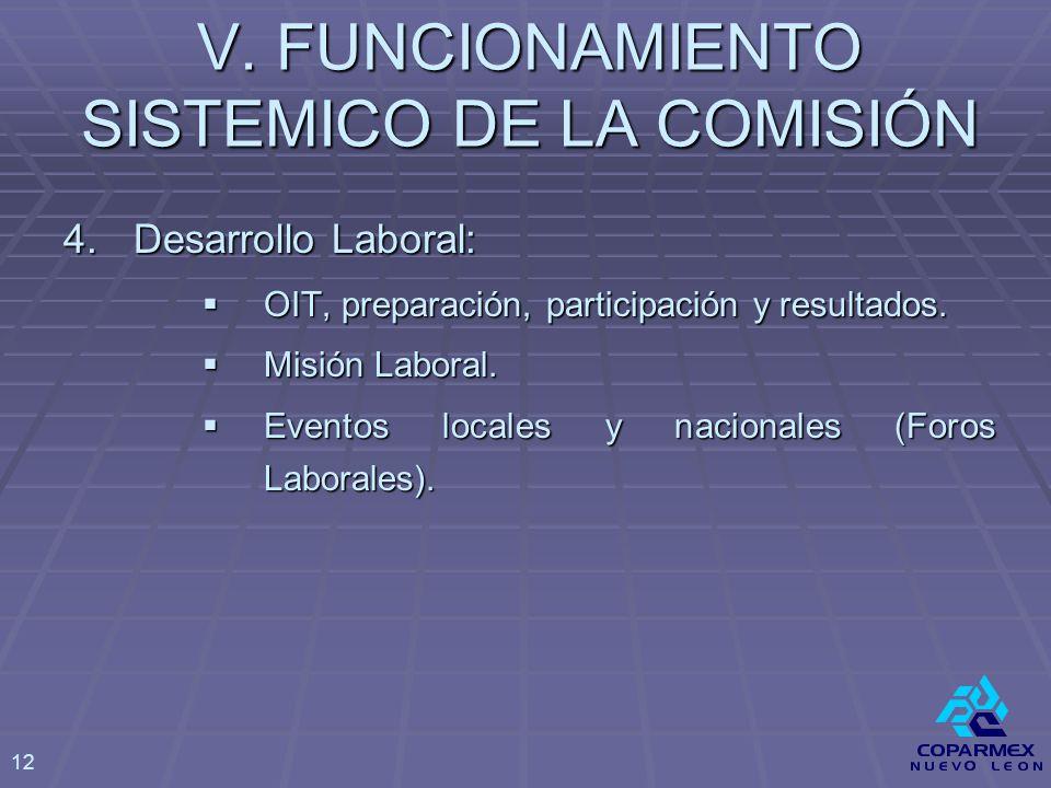 V. FUNCIONAMIENTO SISTEMICO DE LA COMISIÓN 4.Desarrollo Laboral: OIT, preparación, participación y resultados. OIT, preparación, participación y resul