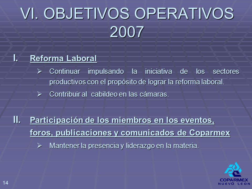 VI. OBJETIVOS OPERATIVOS 2007 I.