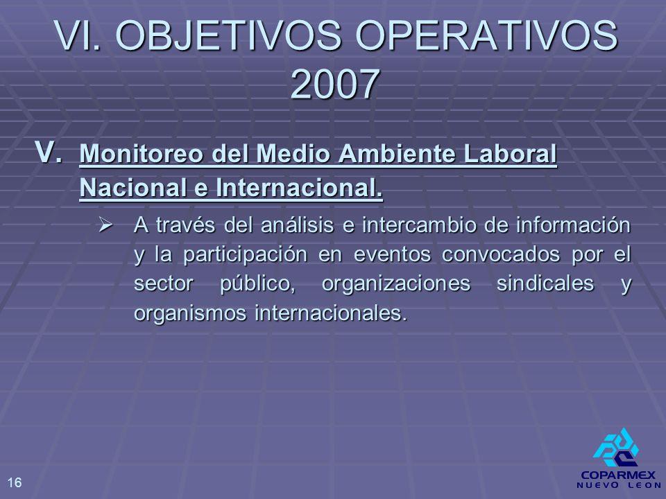 V. Monitoreo del Medio Ambiente Laboral Nacional e Internacional.