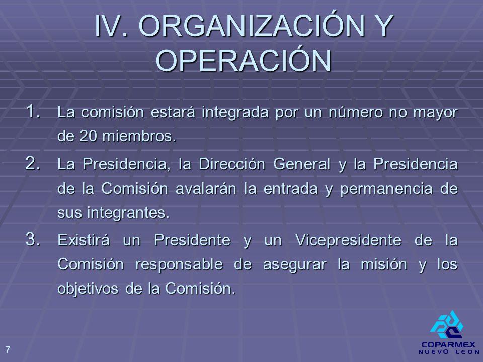 IV. ORGANIZACIÓN Y OPERACIÓN 1.