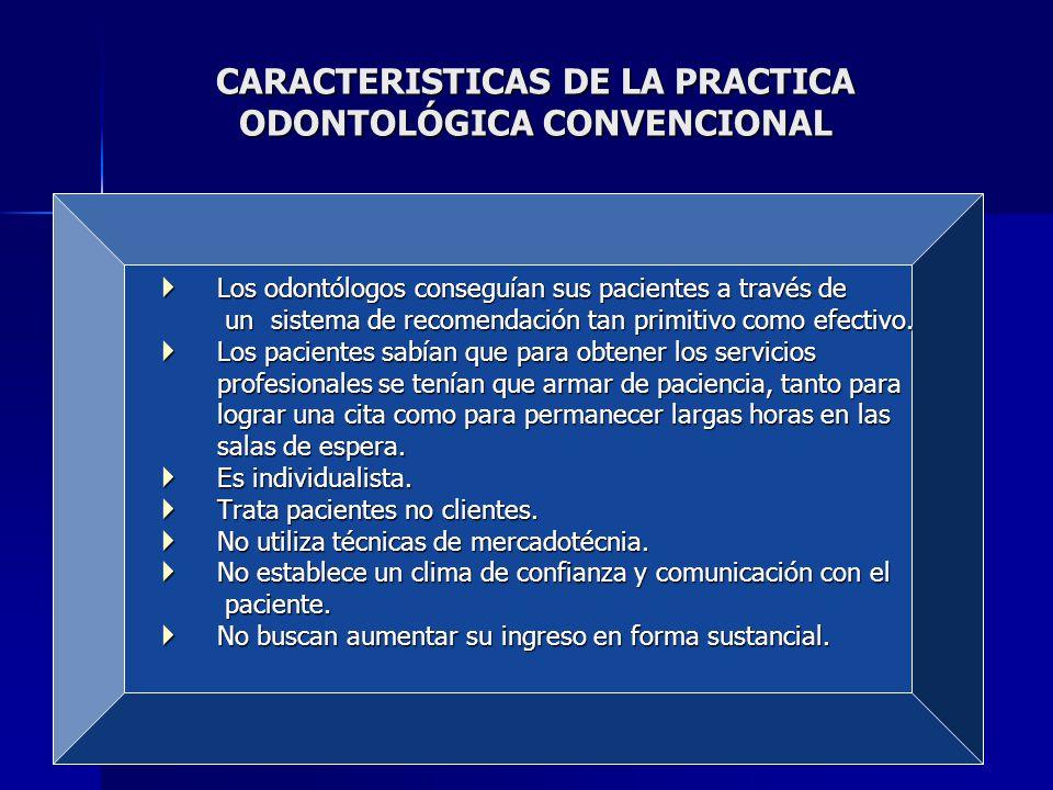 CARACTERISTICAS DE LA PRACTICA ODONTOLÓGICA CONVENCIONAL Los odontólogos conseguían sus pacientes a través de Los odontólogos conseguían sus pacientes a través de un sistema de recomendación tan primitivo como efectivo.